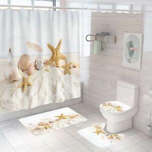 Sandbeach Shower Curtain Bathroom Rug Set Bath Mat Non-Slip Toilet Lid Cover