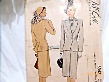 Vintage McCall 6847 Skirt and Fitted Jacket Suit Pattern  S12  B30