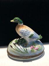 "Limoges Trinket Box Hand Painted Hinged Mallard Duck 3 1/2 "" X 2 1/4 X 4 High"