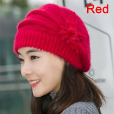Damen Strickmütze Beanie Hut Kaninchenfell Winter Warm Crochet Ski Cap