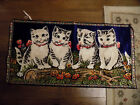 Vtg Rare P & C Woven 4 Kitten Cats w bows Tapestry Wall Hanging Bright Colors