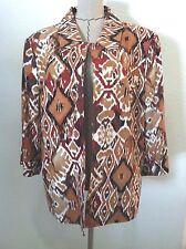Tahari Levine 22W woman plus blazer jacket brown colorful geometric lined 3/4 sl