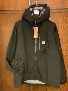Carhartt Storm Defender Force Midweight Hooded Jacket Black Men's Size Large New