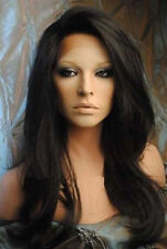 Lace Front Wigs Hair Soft Indian Remy Black Long Cosplay Wig Straight