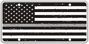 Thin Gray Line over Tatter Background Black & White Flag Souvenir License Plate