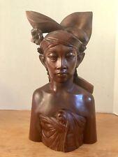 VTG LARGE KLUNGKUNG BALI H Wood Carved Sculptured Busts Native Man~Signed