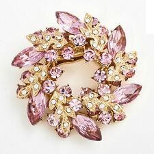 Hot Selling Rhinestone Crystal  Bridal Bouquet Blue Floral Flower Brooch Pin