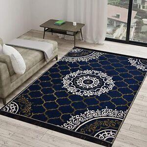 6D Cross Pattern Printed Carpet Made Of Velvet (Blue,5 x 7ft)For Bed/Living Room