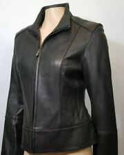 NEW Marc New York Andrew Marc Genuine Black  Leather jacket zip front  Size M