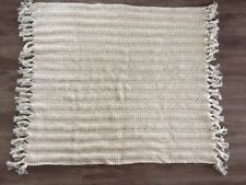 """Wool Cable Knit Ivory Cream Throw Blanket 45"""" X 52"""" With Fringes"""