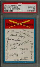 1973 O-Pee-Chee Detroit Tigers Team Checklist PSA 10 GEM MINT Baseball Card POP1