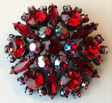 VINTAGE SHERMAN SIGNED RED NAVETTE RHINESTONE BROOCH