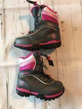 Timberland Girls 7.5 Snow Boots New Gray Pink Hiking Slip On Toggle Closure