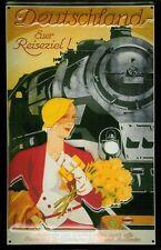Deutschland Steam Train Art Deco Nouveau Travel Medium 3D Metal Embossed Sign