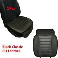 1Pcs Black Classic PU Leather Car Seat Cover Driver Front Cushion w/ Storage Bag