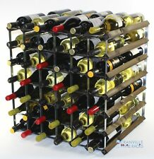 Double depth 84 bottle dark oak stained wood and metal wine rack ready to use