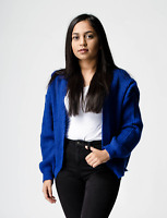 New ex ASOS Blue Chunky Fluffy Rib Open Front Cardigan RRP £30 Sizes 6-20