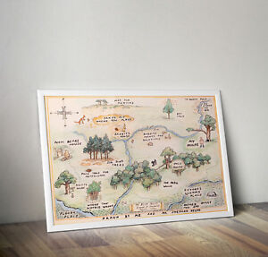 Winnie the Pooh, 100 aker wood map, print, poster, Disney, Wall art, Picture