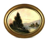 Antique 19th Century Victorian Pastel Painting Landscape Round Oval Gold Frame