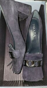 New Prada Calzatura Donna Navy Blue Suede Fringe Heels Shoes Loafers Size 40.5