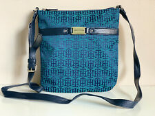 NEW! TOMMY HILFIGER GREEN BLUE MEDIUM CROSSBODY MESSENGER SLING BAG $69 SALE