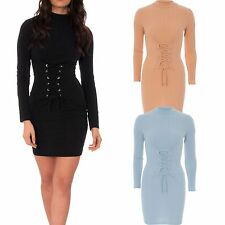 592063c0fc Ladies Corset Tie Waist Rib Knit Mini Bodycon Dress Long Sleeve Turtle Polo  Neck
