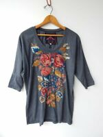 J W LOS ANGELES ~ JOHNNY WAS ~ JWLA ~ Blue Embroidered Knit Top ~ XS