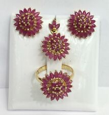 14k Solid Gold Cluster Flower Set Earrings Ring Pendant, Natural Ruby 9TCW