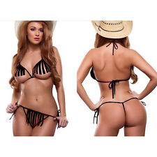 Women Erotic Open bust Thong Tassel Racerback Sheer Backless Bra set Nightwear