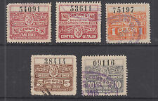 Argentina, Santa Fé, 1915 Comision de Fomento Revcenues, 5 different used halves