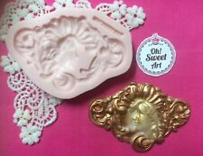 Lady cameo scroll silicone mold fondant cake decorating wax soap jewelry FDA