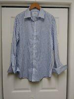 Men Charles Tyrwhitt Blue Check Shirt Slim Fit Non Iron 17 1/2 - 44 French Cuff