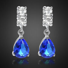 Sale! Lady Gift Pear Blue Sapphire 18K White Gold Plated Gp Drop Stud Earrings