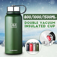 Double Walled Vacuum Flask Insulated Stainless Steel Water Drink Bottle 0.8-1.5L