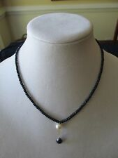 Sapphire Beaded Necklace Drop Cultured Pearl & Faceted Sapphire 10 k clasp