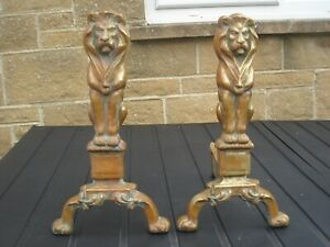 vintage brass fire dogs Lions