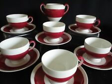 Ruby Red and white Bone China Tea cups and saucers x 6 & sugar bowl