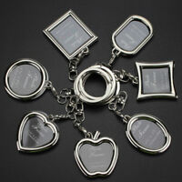 Metal Insert Photo Picture Frame Keyring Keychain DIY Pendant Gift Women Men