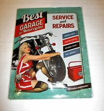Motorcycle Garage Pin Up Girl Embossed Tin Sign