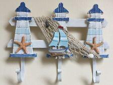 Shabby Wooden Seaside nautical Lighthouse hooks with yacht,shells.bathroom. NEW