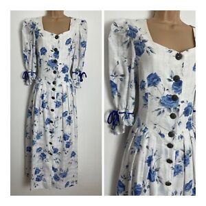 Vintage Pretty White & Blue Floral Print Rose Dirndl Oktoberfest Folk Dress 14