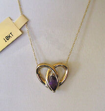 """10k Yellow Gold Amethyst Heart Necklace w/10k chain 18""""--Free Shipping!"""