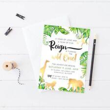 Printable Boy's Birthday Invitation Wild One Gold Jungle Safari Digital Invite