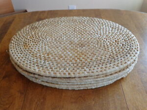 OVAL WICKER RATTAN PLACEMATS LOT OF 6