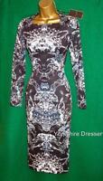 New TED BAKER UK 6 8 Black BERILA Evergreen BodyCon Stretch Pencil Dress *RARE*