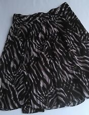 Alfani Animal Print Skirt Lined Size Med Black Beige Elastic Waist Career