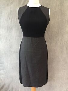 Hobbs Dress Wool Grey charcoal Shift Pencil 12 Business Office Retro 50's  A17