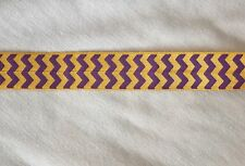 4 yards Purple Gold CHEVRON Print foldover elastic FOE Hair Ties LSU Tigers