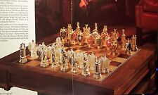 """Franklin Mint 1982 $3000 England Heraldic Chess 5"""" Kings Pewter 24K Gold Plate"""