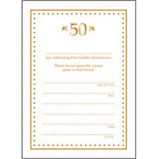 Pack of 10 Golden Wedding Anniversary Party Invitations, 50 Years - Ann-50-05